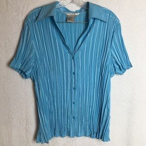 Fred David Blue Button Down Short Sleeve Blouse
